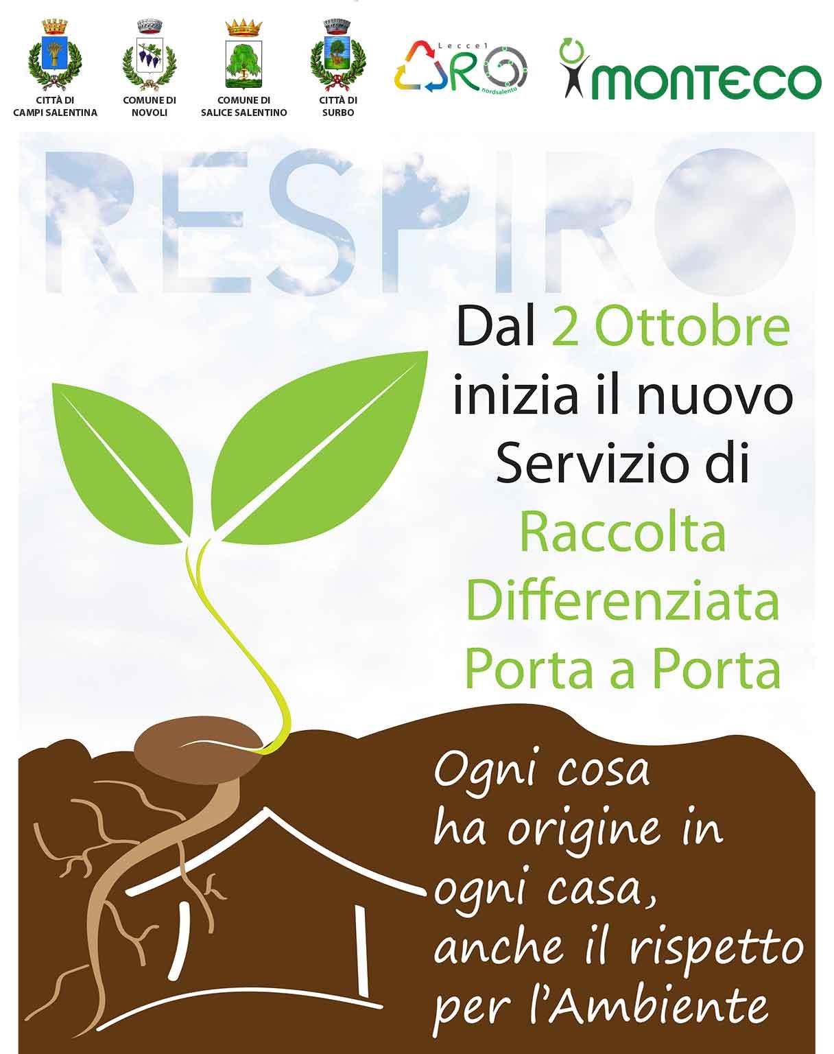 2 ottobre: Nuovo Servizio di Raccolta Differenziata Porta a Porta a Campi, Novoli, Salice e Surbo