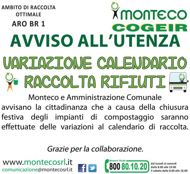 In occasione della festività del 25 aprile nei Comune dell'ARO BR1 il calendario di raccolta subirà delle variazioni