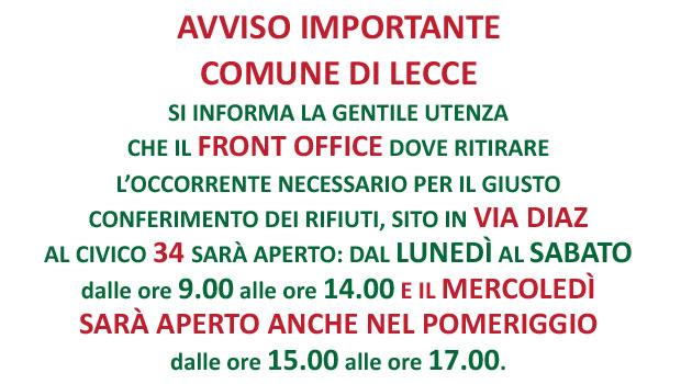 LECCE: IL FRONT OFFICE MONTECO SARÀ APERTO ANCHE MERCOLEDÌ POMERIGGIO