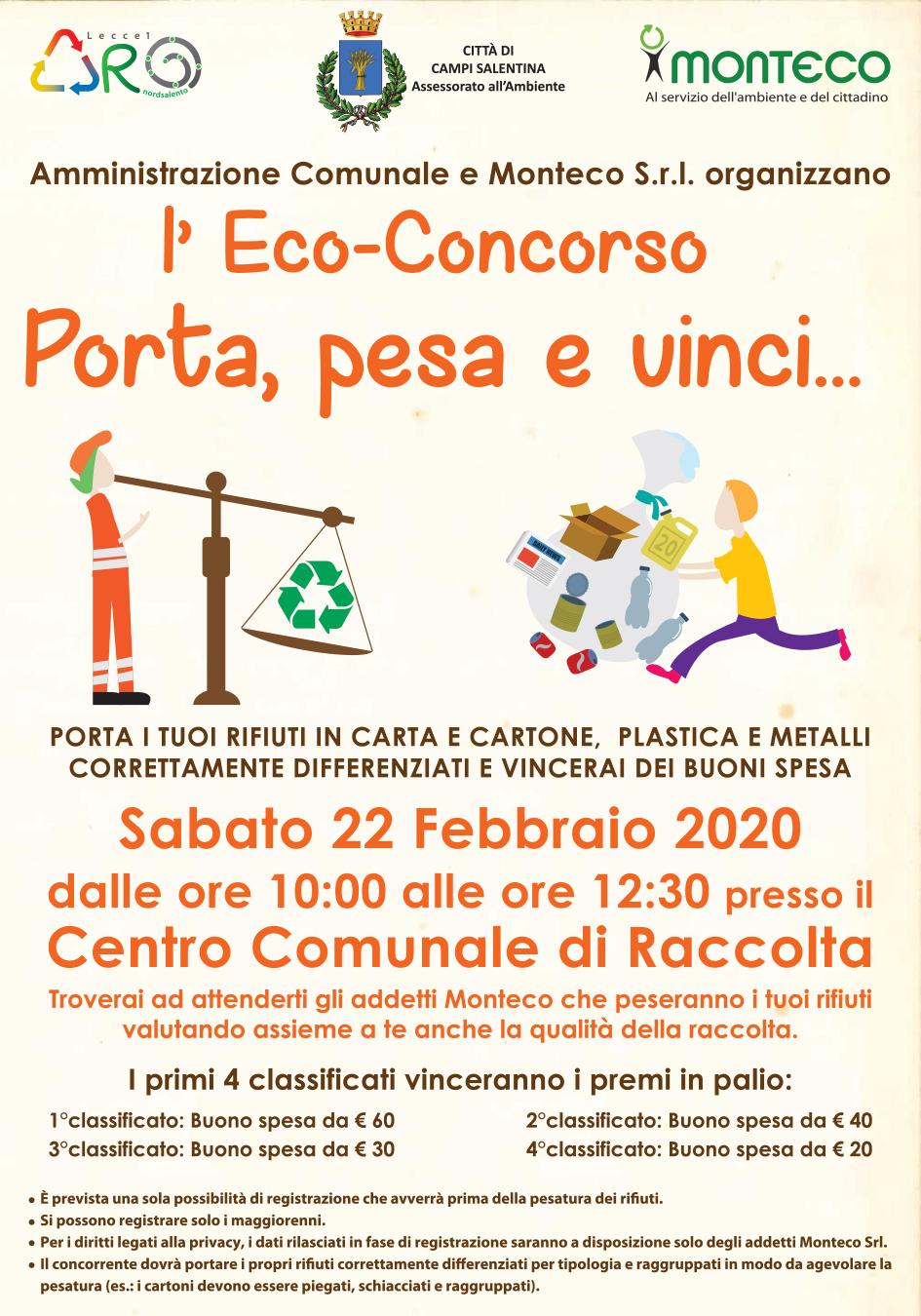 Eco-Concorso Porta, Pesa e Vinci a Campi Salentina presso il Centro Comunale di Raccolta