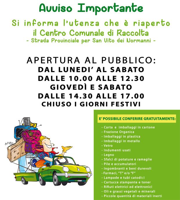 Francavilla Fontana, il prossimo 4 maggio 2017 riapre il Centro Comunale di Raccolta Rifiuti a supporto della raccolta differenziata