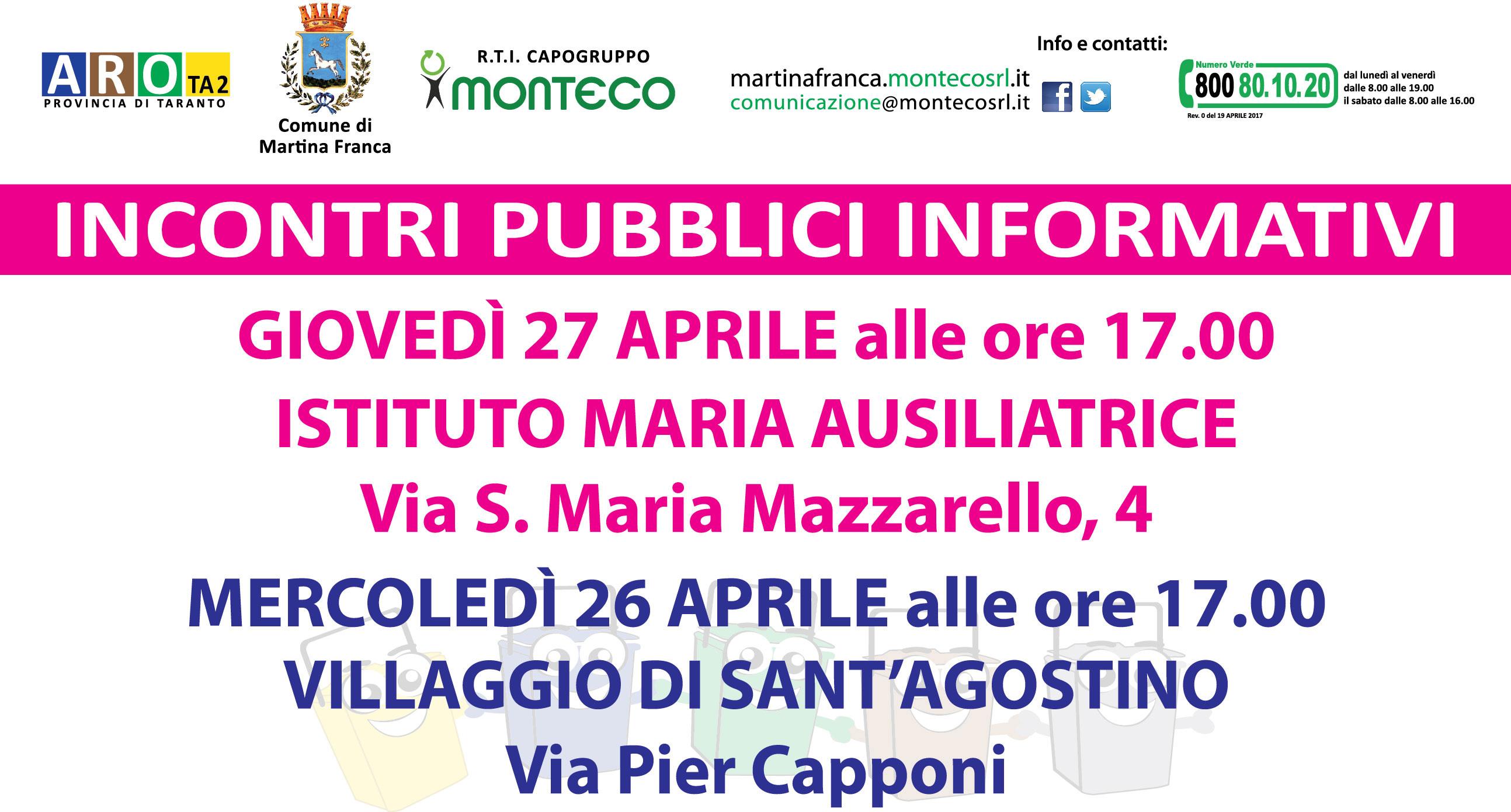 MARTINA FRANCA: INCONTRI PUBBLICI INFORMATIVI