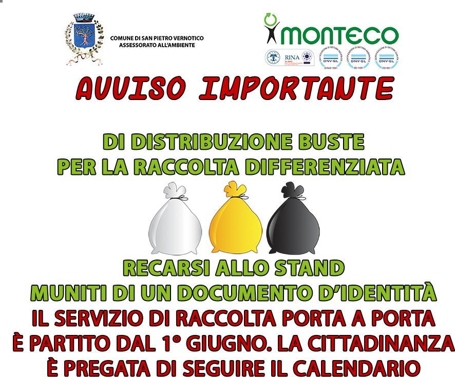 Campo di Mare. Calendario distribuzione buste per la raccolta differenziata nella marina di San Pietro Vernotico (BR)