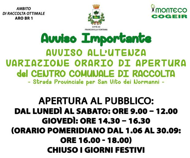Francavilla Fontata: dal 23 ottobre nuovi orari di apertura del Centro Comunale di Raccolta