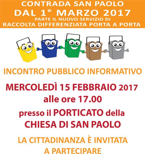 Nuovo Servizio di Igiene Ambientale. Incontro pubblico informativo in C.da San Paolo