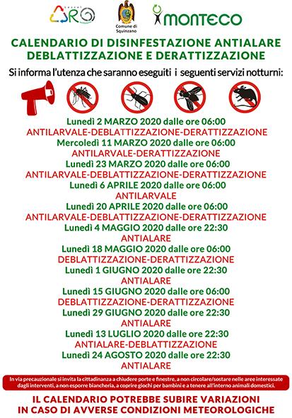 Squinzano. Calendario disinfestazioni antialare, antilarvale, derattizzazione e deblattizzazione