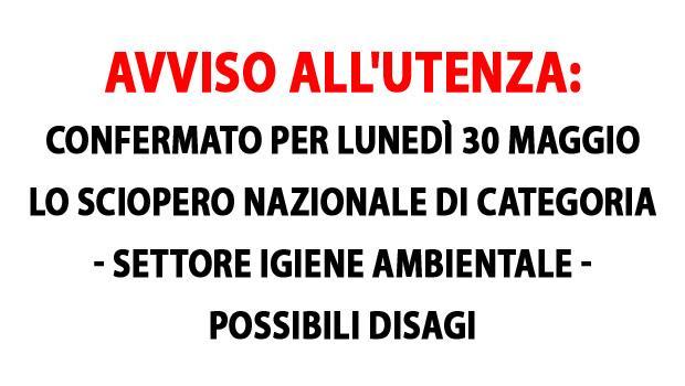 Sciopero Nazionale Lunedì 30 maggio nel settore Igiene Ambientale