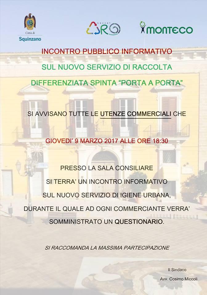 Squinzano: Incontro pubblico informativo con le utenze commerciali sul nuovo servizio di raccolta differenziata